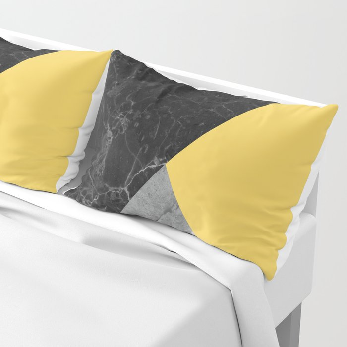 Black and White Marbles and Pantone Primrose Yellow Color Pillow Sham