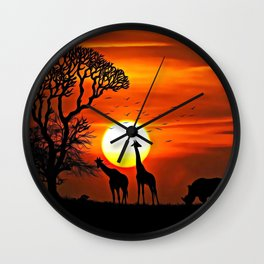 The African Dawn | Savannah Silhouettes - Watercolor Wall Clock