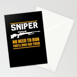 Sniper No Need To Run | Gun Lover Stationery Cards