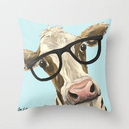 Cute Glasses Cow Up Close Cow With Glasses Throw Pillow