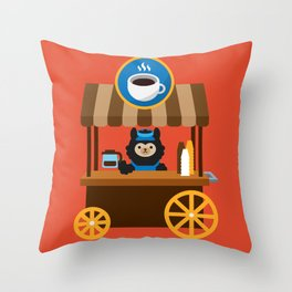 Alpaca Coffee Shop Throw Pillow