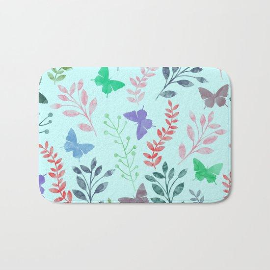 Watercolor flowers & butterflies II Bath Mat