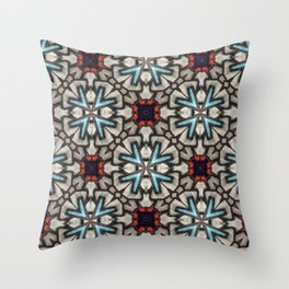 Leather Collage in Teal, Red, Black and White - 3D Macro Photo Throw Pillow