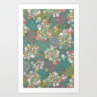 polkadot Art Prints featuring Camouflage Polkadot by Pattern Penny