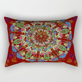Abstract Rainbow Roses Round Rectangular Pillow
