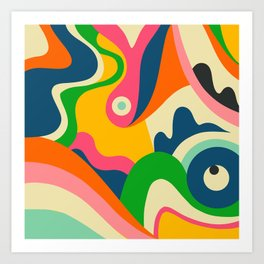 Colorful Mid Century Abstract  Art Print