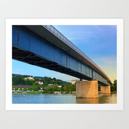 Bridge across the river Danube II   architectural photography Art Print