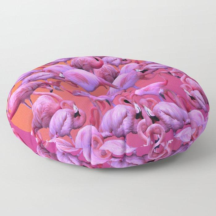 Flamingos Sunrise Floor Pillow