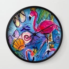 Flip Flops and Flamingos Wall Clock