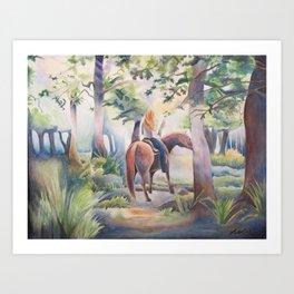 Quiet Woodland Horse Ride Art Print