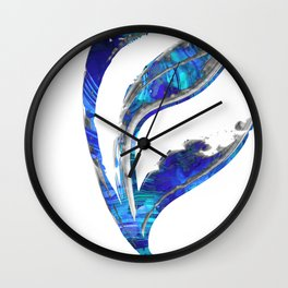 Blue Gray And White Art - Flowing 1 - Sharon Cummings Wall Clock