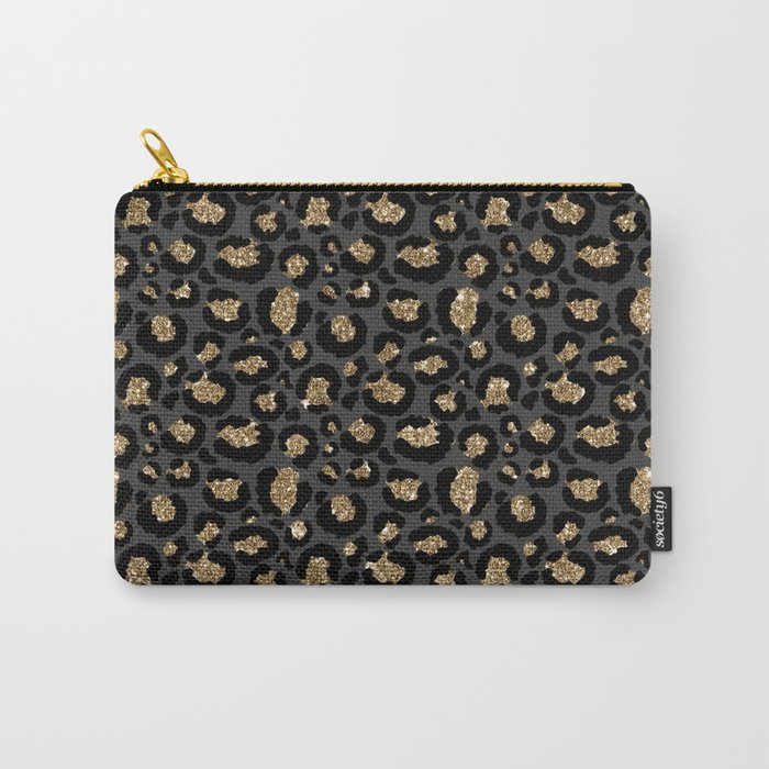 Black Gold Leopard Print Pattern Carry-All Pouch