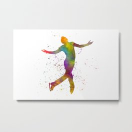 Ice skating man in watercolor Metal Print