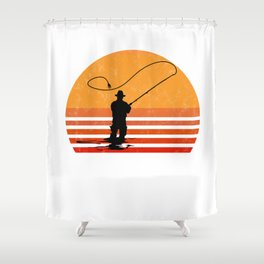 Vintage Fly Fishing Angler Gift Shower Curtain