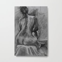 Woman's back in charcoal Metal Print