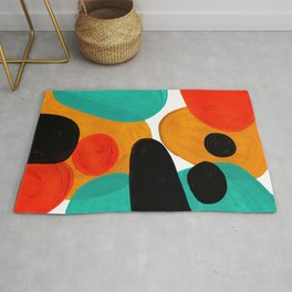 Mid Century Modern Abstract Minimalist Retro Vintage Style Rolie Polie Olie Bubbles Teal Orange Rug