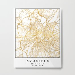 BRUSSELS BELGIUM CITY STREET MAP ART Metal Print