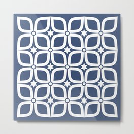 Mid Century Modern 4 Leaf Clover - Navy and White Metal Print