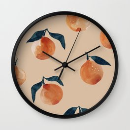 Spring Clementine Home Decor Oranges by Erin Kendal Wall Clock