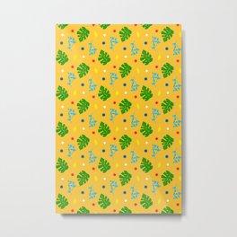 Ma-Ma Monstera: Mustard Seed Metal Print