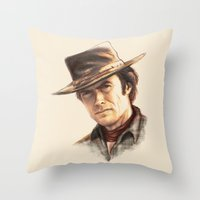 clint eastwood Throw Pillows featuring Clint Eastwood tribute by TOXIC RETRO