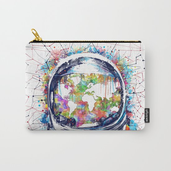 astronaut world map colorful Carry-All Pouch