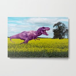 Pink in the fields Metal Print