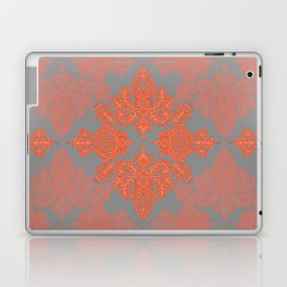 Burnt Orange, Coral & Grey doodle pattern Laptop & iPad Skin