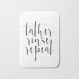 Bathroom Prints Lather Rinse Repeat Sign, SPA Prints, SPA Printable Decor, Black and White Bathroom Bath Mat