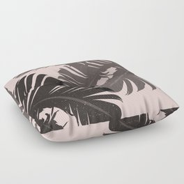 Tropical Leaf Silhouette in Pink Palette Floor Pillow