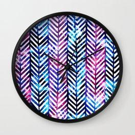Purple and Blue Herringbone Wall Clock