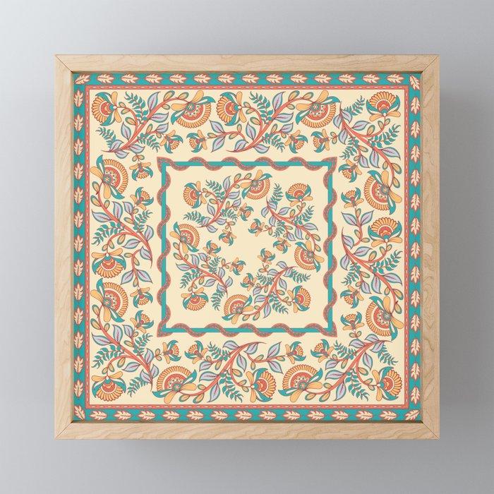 Square decorative design. Indian style. Kalamkari. Framed Mini Art Print