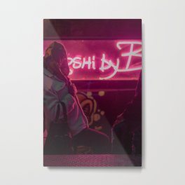 Neon Sign & Girl Metal Print