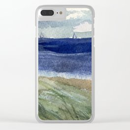 Sailboats and Sea Grass Watercolor Clear iPhone Case
