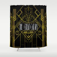 gatsby Shower Curtains featuring The Great Gatsby by Ronoh Designs