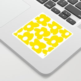 Large Yellow Retro Flowers on White Background #decor #society6 #buyart Sticker