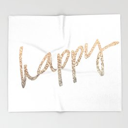 GOLD HAPPY Throw Blanket