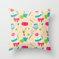 sewing Throw Pillows featuring Sewing Session by Valentina Cariel