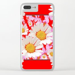 MODERN  DAISY FLOWER  RED ABSTRACT ART DESIGN Clear iPhone Case