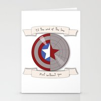 bucky barnes Stationery Cards featuring Steve Rogers and Bucky Barnes Shield by Mallory Anne