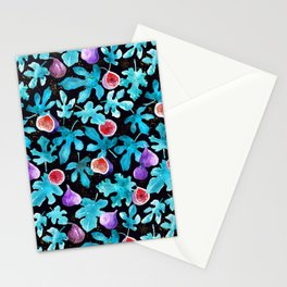 Midnight Sweetness. Dark Botanical Figs and Leaves Stationery Cards