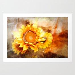 Sunflowers Aglow Art Print