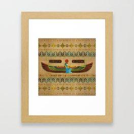 Egyptian Goddess Isis Ornament on papyrus Framed Art Print