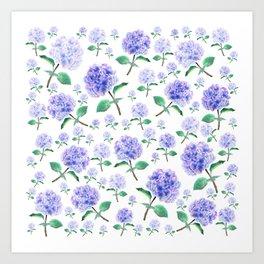 purple blue hydrangea pattern Art Print