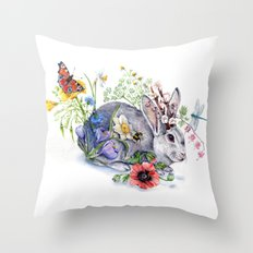 Spring Jackalope Throw Pillow