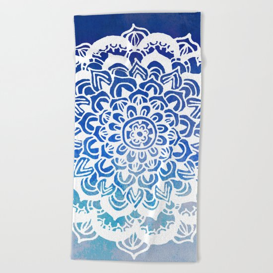White Floral Medallion on Indigo & Turquoise Watercolor Beach Towel