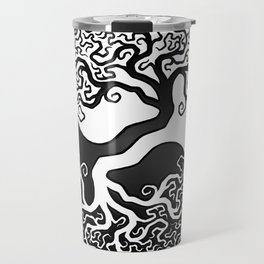 White and Black Tree of Life Yin Yang Travel Mug