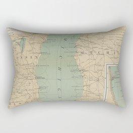 Vintage Lake Michigan Lighthouse Map (1898) Rectangular Pillow