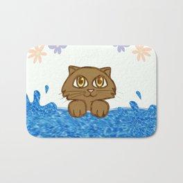 Cute Cat in Bath Tub Bath Mat