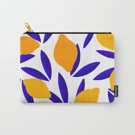 Blue and yellow Lemon Summery Pattern Carry-All Pouch